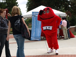 Big Red helped promote Winter Term 2009 during a registration rally on Sept. 15.