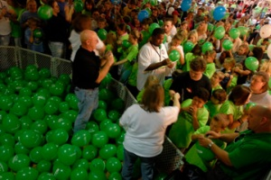 Residents of southeast Missouri, southern Illinois and western Kentucky blew up 852 balloons in an hour breaking the previous record of 600 balloons at the third annual Science Day event. (Photo courtesy of Fred Lynch, Southeast Missourian.)