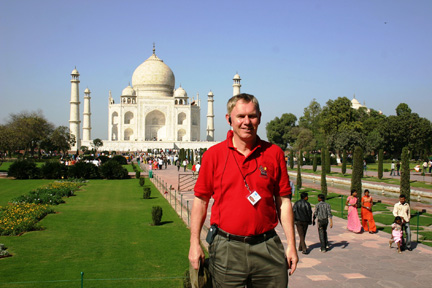 Dr. David Keeling visited the Taj Mahal in Agra, India, during a recent trip around the globe.