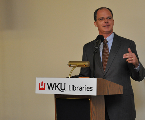 U.S. Rep. Brett Guthrie spoke about the importance of WKU's U.S. government collection during an anniversary celebration March 27 at the Helm Library. (Photo by Haiwang Yuan)
