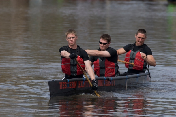 WKU's concrete canoe team won all the races during the Ohio Valley Student Conference at Basil Griffin Park and finished third overall in the regional event. (WKU photo by Michael McDowell)