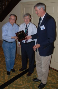Glen Conner (center), state climatologist emeritus, was honored by the American Association of State Climatologists. Presenting him with the honorary member status award were Ken Crawford (left), Oklahoma state climatologist; and Nolan Doesken, Colorado state climatologist and president of the AASC.