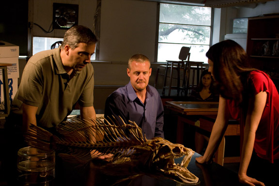 Dr. Steve Huskey, center, discusses his research with National Geographic Television producer April Chabries (right) and videographer Dave Porfiri (left) during a video shoot this week. (WKU Photo by Bryan Lemon)
