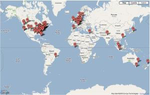 Map of recent visit origins to the CLIMLIST site.