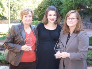The Center for Training and Development and WKU Summer Sessions were honored recently by the University Continuing Education Association. From left are Manon Pardue, Jennifer Perry and Beth Laves.