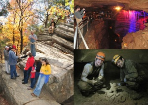 WKU students participated in a fieldtrip to the Ozarks of central Missouri. Left: Students took notes at Devil's Kitchen in Roaring River State Park, Mo. Top: Micah Ruth photographed a waterfall in Marvel Cave. Bottom: Nick Lawhon and Kamal Humagain created a mud sculpture of Big Red in the back of Indian Creek Cave.