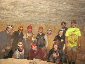 The WKU group took a wild cave trip to Indian Creek Cave in Missouri.