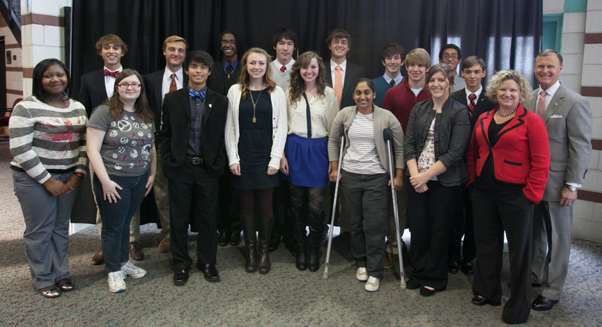 WKU honored 16 students from Owensboro High School. Front row (from left):  Aqualyn Williams, Emily Davis, Ryan Morales, Chandler Thompson, Madison  Stuart, ...