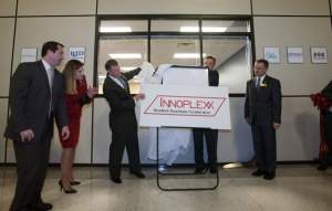 WKU President Gary Ransdell helped unveil Innoplexx, the new name of the Student Business Accelerator. (WKU photo by Clinton Lewis)