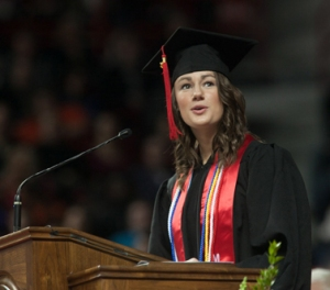 Amy Winkler of Murray was recognized as the Ogden Foundation Award recipient at WKU's 172nd Commencement on Dec. 15. (WKU photo by Clinton Lewis)
