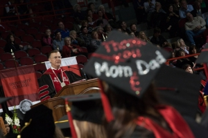 WKU President Gary Ransdell delivered remarks at morning and afternoon ceremonies. (WKU photo by Clinton Lewis)