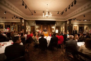 WKU's Student Government Association hosted Dine with Decision Makers on Dec. 5. SGA Administrative Vice President Cain Alvey called on guests to stand up to be recognized for their achievements.