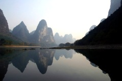 The karst landscape of the Li River near Guilin, China.