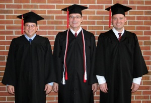 The first three graduates to complete their Bachelor of Science degree in Organizational Leadership are (from left) Tim Sheldon, Linton Hughey and Jerrod Davis.