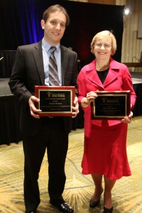 The National Association for Gifted Children honored Dr. Julia Link Roberts, right, WKU Mahurin Professor of Gifted Education, with its Distinguished Service Award, and Dr. Nielsen Pereira, WKU assistant professor of education, with an Outstanding Doctoral Student Award at a reception Nov. 15 in Denver.
