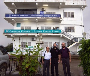 WKU faculty members (from left) Dr. Xingang Fan, Dr. Jason Polk and Dr. Josh Durkee attended a meeting at the Caribbean Community Climate Change Centre in Belmopan, Belize.