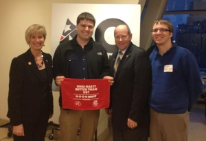 WKU student Cain Alvey of Lewisport and WKU graduate Kendrick Bryan of Elizabethtown are in New York City for the No Labels meeting. From left are Rep. Janice Hahn of California, Alvey, Rep. Reid Ribble of Wisconsin, and Bryan.