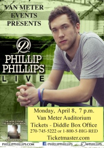 Tickets go on sale Feb. 4 for the Phillip Phillips concert April 8 at WKU's Van Meter Hall.