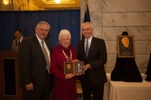 Education Commissioner Terry Holliday and Gov. Steve Beshear presented Eloise Hadden with her Teacher Hall of Fame award. (WKU photo by Clinton Lewis)