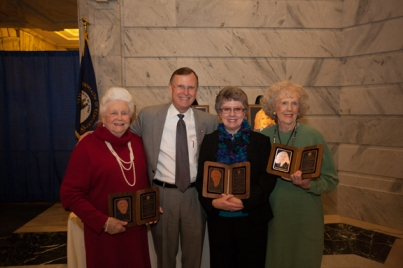WKU President Gary Ransdell congratulated the 2013 Gov. Louie B. Nunn Kentucky Teacher Hall of Fame inductees. From left are Eloise Hadden, Dr. Ransdell, Anne Padilla and Juanita Park. (WKU photo by Clinton Lewis)