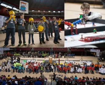 About 290 participants on 39 teams competed in the Kentucky FIRST LEGO League State Robotics Championship on Feb. 2 at WKU's Diddle Arena. (WKU photos by Clinton Lewis)
