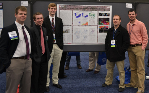 WKU meteorology students (from left) Tyler Binkley, Andrew Dockery, John L. Thomas, Quentin Walker and Ryan Difani presented their research poster during the Student Conference at the2013 AMS annual meeting.