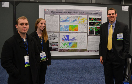 WKU meteorology students (from left) Quentin Walker, Emily Yates and Chris Johnson presented their poster at the annual conference.