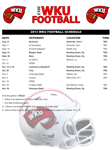 2013 WKU football schedule