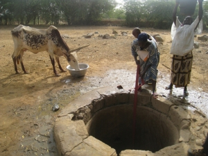 Women fetch water from a community well in Bouban village, shared by people and animals alike.