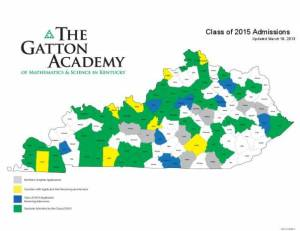 The Gatton Academy has selected 72 students from 44 counties for its Class of 2015. To date, the Gatton Academy has admitted students from 110 of Kentucky's 120 counties.
