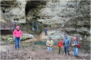 WKU students at the bottom of Grand Gulf, a large collapsed cave system in Missouri. From left: Michelle Foley, Ben Miller, Brent Eberhard, Adam Aldridge, Paul Shively; back: Brandon Thomas.