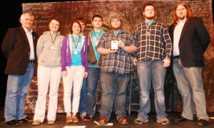 Educational Talent Search students from Cumberland County High School won the 2013 TRiO Day High Q competition on Feb. 23. From left are Tom Rowland, president of KAEOPP (Kentucky Association of Educational Opportunity Program Personnel); students Taylor Grinder, Katie Peretto, Caleb Burns, Kurtis Spears, Creed Scott and Lucas Arms; KAEOPP's Matthew Hyde.