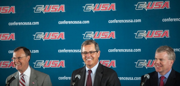 WKU has entered into a membership agreement with Conference USA for its athletic programs beginning on July 1, 2014. Making the announcement on April 1 were (from left) WKU President Gary Ransdell, CUSA Commissioner Britton Banowsky and Director of Athletics Todd Stewart. (WKU photo by Bryan Lemon)