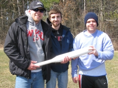 Members of the concrete bat team are (from left) Tyler Sheffield, Justin Jernigan and Jeremiah Baxley.