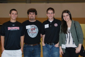 "Members of WKU's ""Fifth Star"" ASME winning are (from left) Christian Seymour of Hodgenville; Jeff DeJarnette of Rockfield; Caleb King of Scottsville; and Anne Petry of Joinville, Santa Catarina, Brazil."