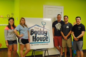 As part of the $100 Solution, five WKU students have worked with the Buddy House for Down Syndrome to recruit volunteers as well as design and decorate the educational room for the individuals they serve. From left are Natalie Gilliam of Lexington, Kelsey Esposito-Wilcox of Las Vegas, Justin Eckerd of Bowling Green, Micah McClendon of Villa Hills and Jacob Soler of Bowling Green.