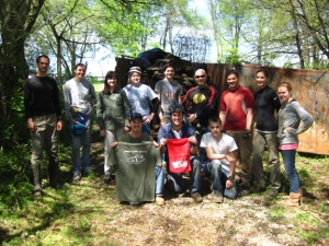 Members of the Green River Grotto and other groups cleaned Crumps Cave Education and Research Reserve in Warren County on April 21. Front row (from left): Clint Barber, Kegan McClanahan, Tristin Thomas; back row: Sergey Tokarev, Tammy Britt, Merrie Richardson, Cayce Johnson, Alex Goldman, Phil Goldman, Dorian Goldman, Laura Sangalia, Megan Remillard.