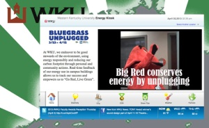 By accessing the WKU Energy Kiosk, faculty, staff, students and the general public can view real-time electrical usage and carbon dioxide emissions across the WKU campus and in 38 buildings as well as other green tips and information.