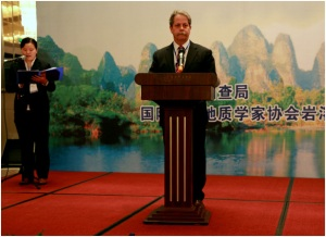 As an invited representative of the United Nations International Geoscience Program, Dr. Chris Groves addresses the conference opening ceremony with remarks about the status of China/U.S. cooperation in karst science. (Photo by Su Luxuan).