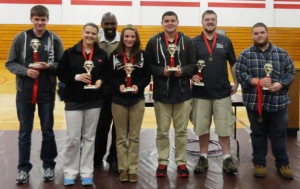 Cumberland County students (from left) Caleb Burns, Taylor Grinder, Katie Peretto, Kurtis Spears, Lucas Arms and Creed Scott finished second in the regional High Q competition.