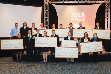 WKU student Kyle O'Donnell (second from right in back row) won $30,000 in the Idea State U business plan competition.