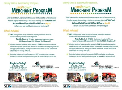 The Small Town Merchant Program will be held May 28 at WKU-Glasgow and May 30 at WKU's Center for Research and Development in Bowling Green.