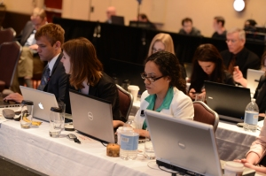 Western iMedia students are working at the 2013 INMA World Congress in New York City. WKU students (from left) include: Cameron Koch, Whtiney Koontz and Lauren Lorance in front row; Stephanie Bronner and Khristian Tate in second row. (Photo by Robert Downs, INMA)