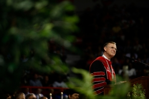 In his remarks to the Class of 2013, WKU President Gary Ransdell reflected on his own graduation from WKU in 1973. (WKU photo by Bryan Lemon)
