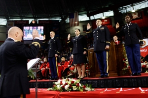 The WKU ROTC program commissioned 11 cadets as second lieutenants in the U.S. Army as part of the commencement ceremonies. (WKU photo by Bryan Lemon)