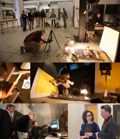 WKU's Engineering-Manufacturing-Commercialization Center sponsored a testing session for horse safety reins on May 13. Top photo: WKU student Tim Bucklew checks the high-speed camera after a rein was broken. Middle photos: EMCC manager Ron Rizzo loads a rein onto the hydraulic lift, which tests for the force required to break it. Bottom: Engineering professor Matt Dettman explains the process and results to Terence Meyocks and Phil Hanrahan (left photo) and Cathy O'Meara (right photo). (WKU photos by Clinton Lewis)