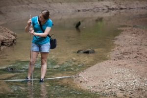 As part of an internship with the Cumberland Piedmont Network, WKU biology graduate Sara Wigginton assisted in monitoring the water quality of cave-fed springs at Mammoth Cave National Park. (WKU photo by Clinton Lewis)