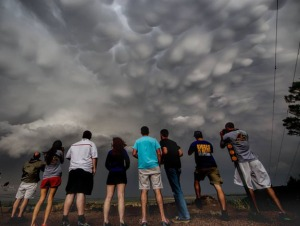 The WKU group viewed mammtus clouds near Ogallala, Neb. (Photo by Josh Durkee)