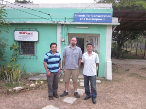 During a recent visit to Belize, Dr. Jason Polk (middle) met with Rafael Manzanero (right), Director of Friends for Conservation and Development, and Derek Chan (left) about the Chiquibul National Park.