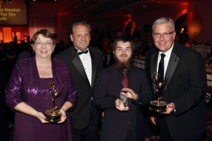 WKU PBS was recognized with three Ohio Valley Emmy Awards. From left are Producer Cheryl Beckley, Director of Educational Telecommunications James Morgese, WKU student Neil Purcell and Station Manager David Brinkley. (Photo by Dave Beckley)